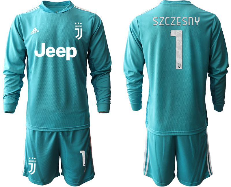 Cheap Men 2020-2021 club Juventus lake blue long sleeve goalkeeper 1 Soccer Jerseys