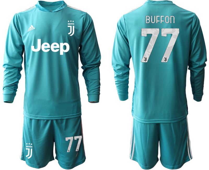 Cheap Men 2020-2021 club Juventus lake blue long sleeve goalkeeper 77 Soccer Jerseys