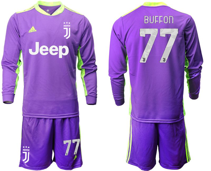 Cheap Men 2020-2021 club Juventus purple long sleeved Goalkeeper 77 Soccer Jersey