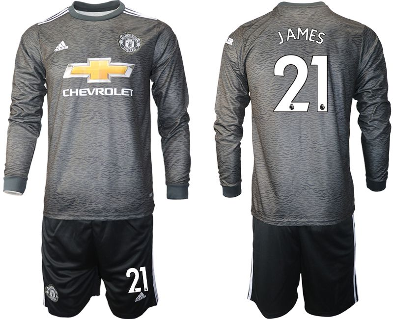 Wholesale Men 2020-2021 club Manchester united away long sleeve 21 black Soccer Jerseys
