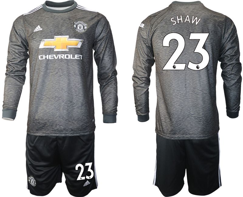 Wholesale Men 2020-2021 club Manchester united away long sleeve 23 black Soccer Jerseys