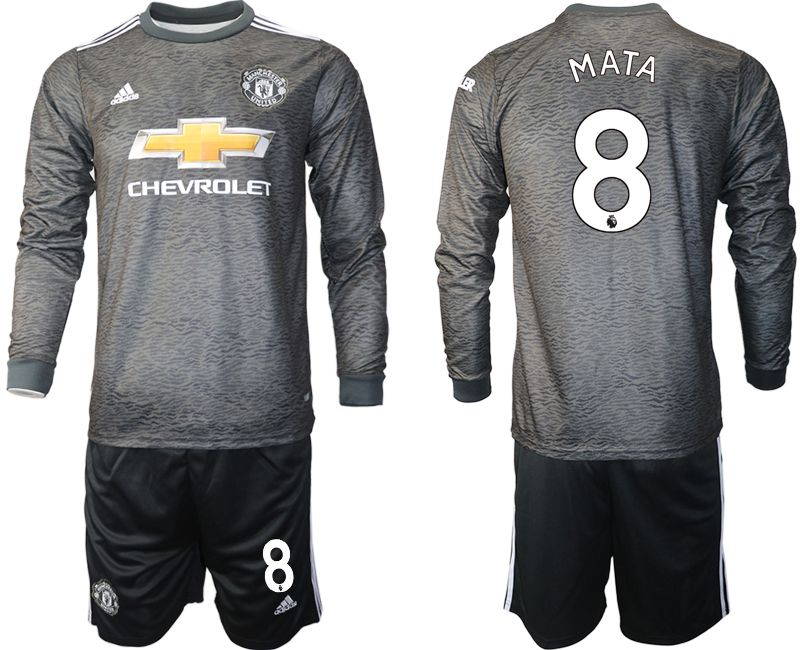 Wholesale Men 2020-2021 club Manchester united away long sleeve 8 black Soccer Jerseys