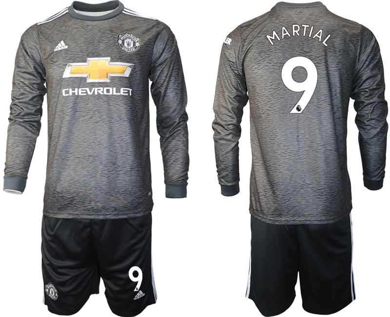 Wholesale Men 2020-2021 club Manchester united away long sleeve 9 black Soccer Jerseys