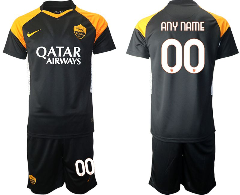 Cheap Men 2020-2021 club Rome away customized black Soccer Jerseys
