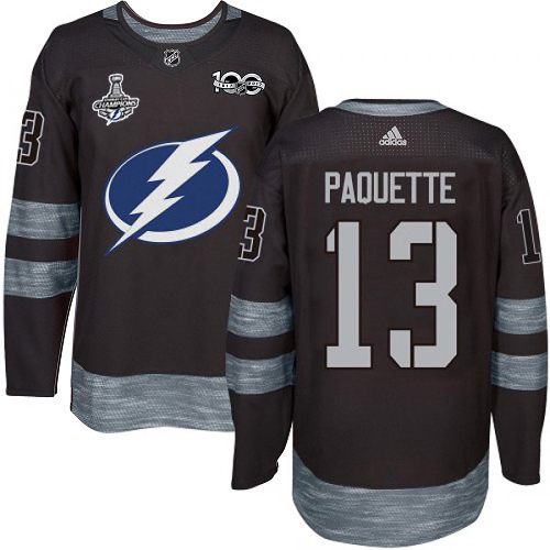 Cheap Men Adidas Tampa Bay Lightning 13 Cedric Paquette Black 1917-2017 100th Anniversary 2020 Stanley Cup Champions Stitched NHL Jersey