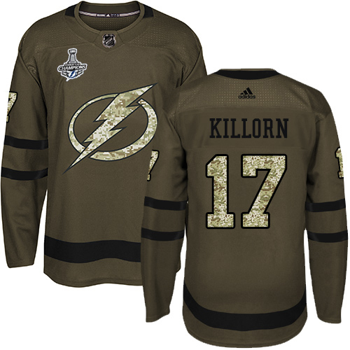 Cheap Men Adidas Tampa Bay Lightning 17 Alex Killorn Green Salute to Service 2020 Stanley Cup Champions Stitched NHL Jersey