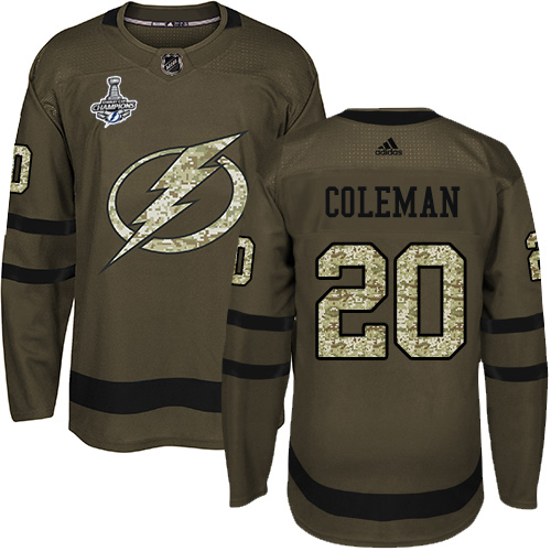Cheap Men Adidas Tampa Bay Lightning 20 Blake Coleman Green Salute to Service 2020 Stanley Cup Champions Stitched NHL Jersey