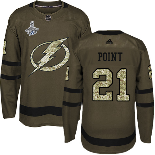Wholesale Men Adidas Tampa Bay Lightning 21 Brayden Point Green Salute to Service 2020 Stanley Cup Champions Stitched NHL Jersey