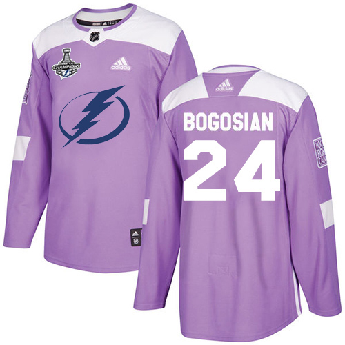 Cheap Men Adidas Tampa Bay Lightning 24 Zach Bogosian Purple Authentic Fights Cancer 2020 Stanley Cup Champions Stitched NHL Jersey