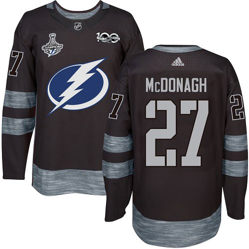 Cheap Men Adidas Tampa Bay Lightning 27 Ryan McDonagh Black 1917-2017 100th Anniversary 2020 Stanley Cup Champions Stitched NHL Jersey