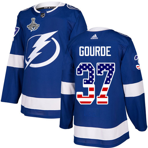 Cheap Men Adidas Tampa Bay Lightning 37 Yanni Gourde Blue Home Authentic USA Flag 2020 Stanley Cup Champions Stitched NHL Jersey