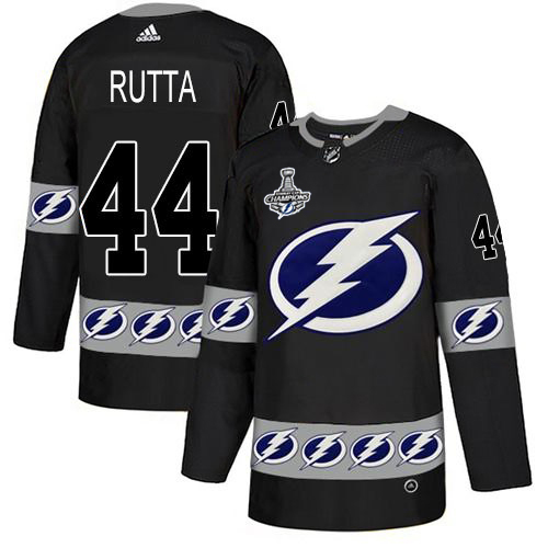 Cheap Men Adidas Tampa Bay Lightning 44 Jan Rutta Black Authentic Team Logo Fashion 2020 Stanley Cup Champions Stitched NHL Jersey