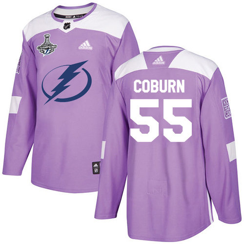 Cheap Men Adidas Tampa Bay Lightning 55 Braydon Coburn Purple Authentic Fights Cancer 2020 Stanley Cup Champions Stitched NHL Jersey