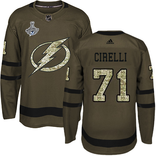 Cheap Men Adidas Tampa Bay Lightning 71 Anthony Cirelli Green Salute to Service 2020 Stanley Cup Champions Stitched NHL Jersey