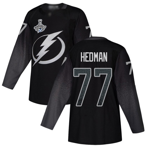 Cheap Men Adidas Tampa Bay Lightning 77 Victor Hedman Black Alternate Authentic 2020 Stanley Cup Champions Stitched NHL Jersey