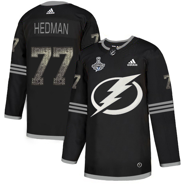 Cheap Men Adidas Tampa Bay Lightning 77 Victor Hedman Black Authentic Classic 2020 Stanley Cup Champions Stitched NHL Jersey
