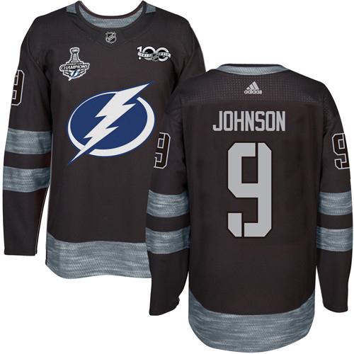 Cheap Men Adidas Tampa Bay Lightning 9 Tyler Johnson Black 1917-2017 100th Anniversary 2020 Stanley Cup Champions Stitched NHL Jersey