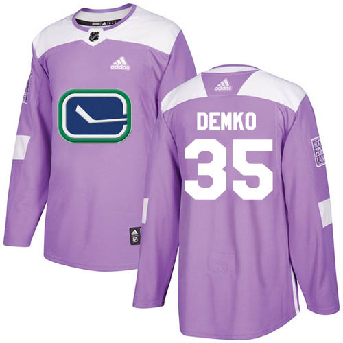 Cheap Men Adidas Vancouver Canucks 35 Thatcher Demko Purple Authentic Fights Cancer Stitched NHL Jersey