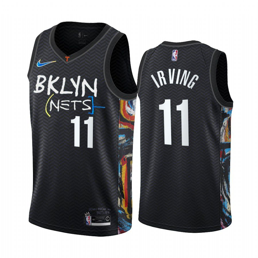 Cheap Men Brooklyn Nets 11 kyrie irving black city edition honor basquiat 2020 nba jersey