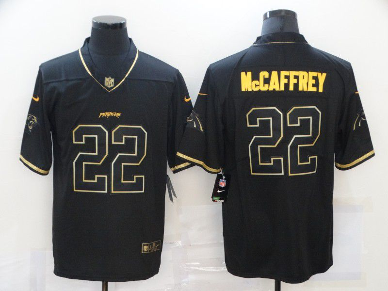 Cheap Men Carolina Panthers 22 Mccaffrey Black Retro Gold Lettering 2020 Nike NFL Jersey