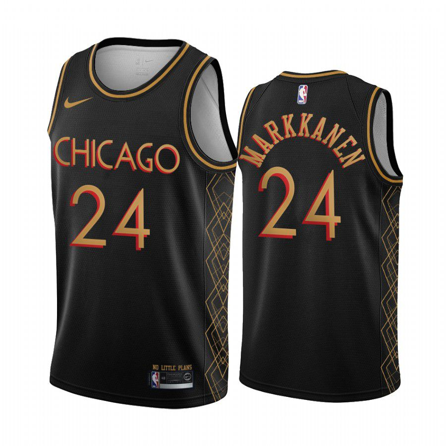 Cheap Men Chicago Bulls 24 lauri-markkanen black motor city edition no little plans 2020 nba jersey
