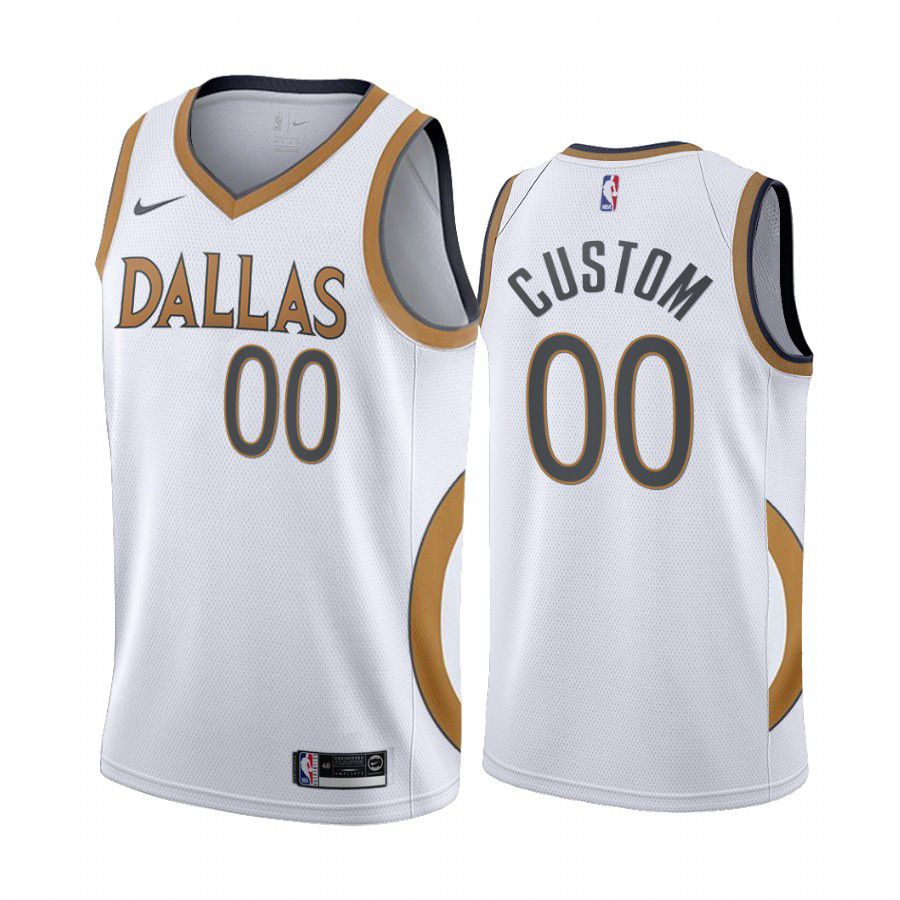 Cheap Men Dallas Mavericks 00 custom white city edition gold silver logo 2020 nba jersey