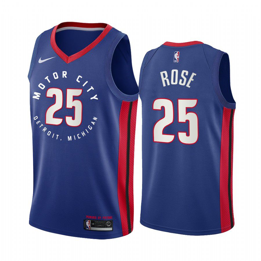 Wholesale Men Detroit Pistons 25 derrick rose navy motor city edition 2020 nba jersey