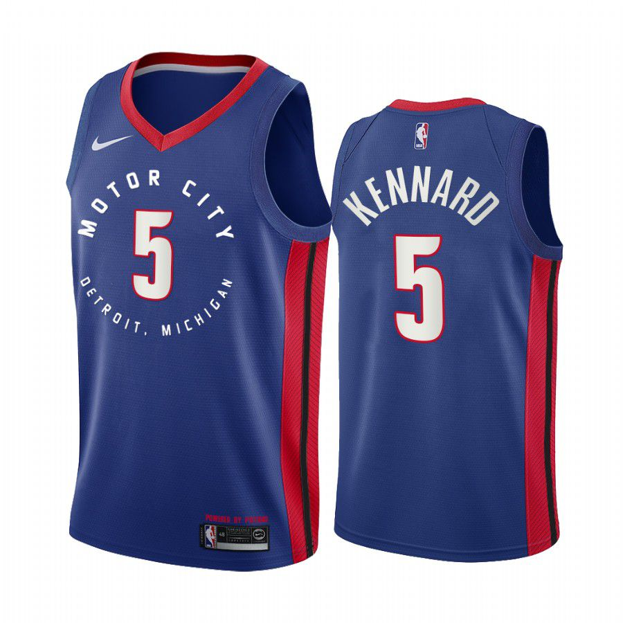 Wholesale Men Detroit Pistons 5 luke kennard navy motor city edition 2020 nba jersey