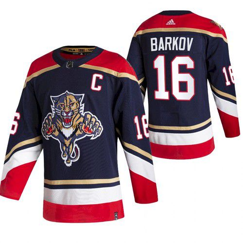 Cheap Men Florida Panthers 16 Barkov Blue NHL 2021 Reverse Retro jersey