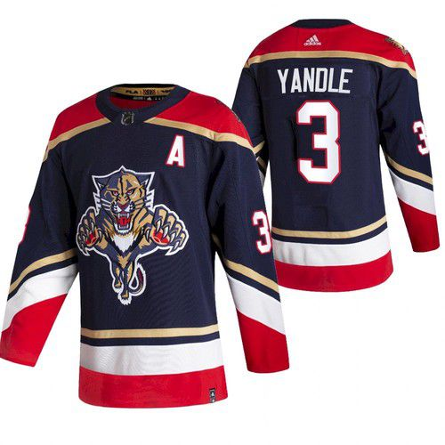 Cheap Men Florida Panthers 3 Yandle Blue NHL 2021 Reverse Retro jersey