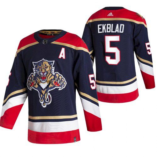 Cheap Men Florida Panthers 5 Ekblad Blue NHL 2021 Reverse Retro jersey