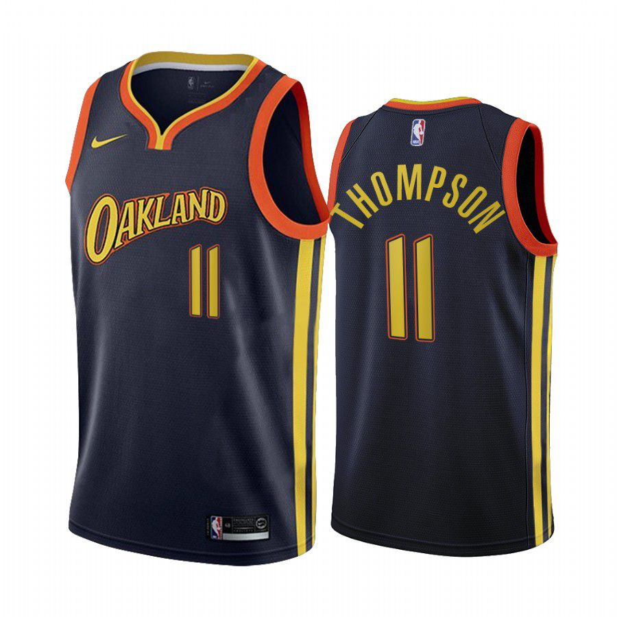 Wholesale Men Golden State Warriors 11 klay thompson navy city edition oakland 2020 nba jersey