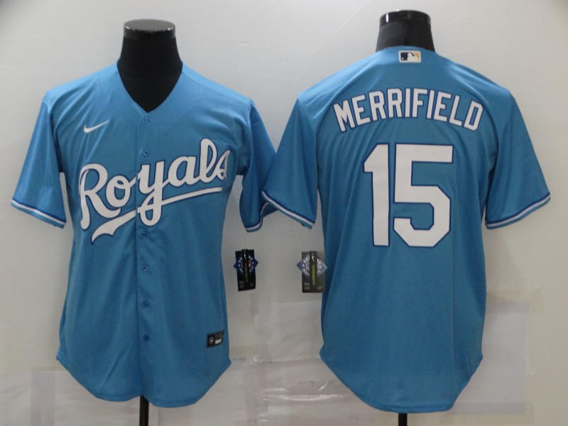 Wholesale Men Kansas City Royals 15 Merrifield Light Blue Game Nike MLB Jerseys