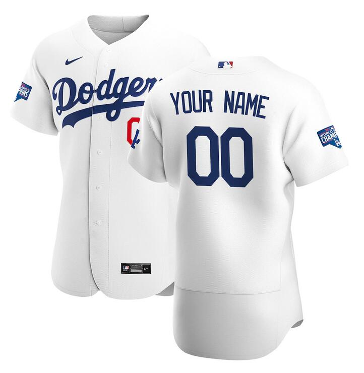 Wholesale Men Los Angeles Dodgers Nike White 2020 World Series Champions Home Custom Authentic MLB Jersey