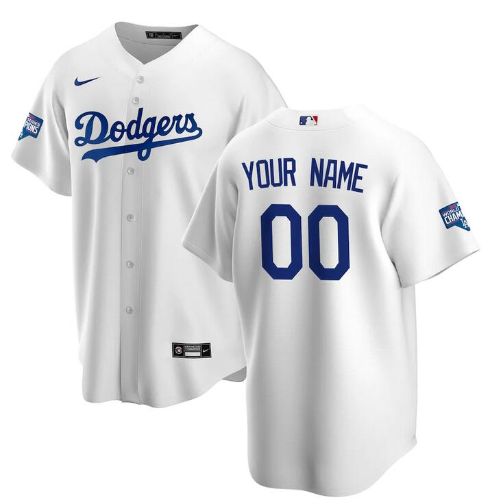 Wholesale Men Los Angeles Dodgers Nike White 2020 World Series Champions Home Custom Replica MLB Jersey