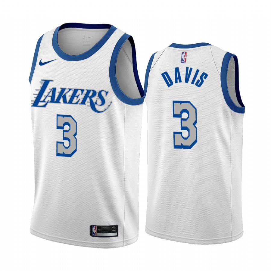 Wholesale Men Los Angeles Lakers 3 anthony davis white city edition new blue silver logo 2020 nba jersey