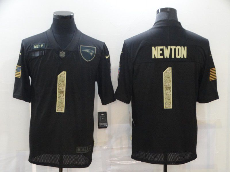 Men New England Patriots 1 Newton Black Camo Lettering 2020 Nike NFL Jersey