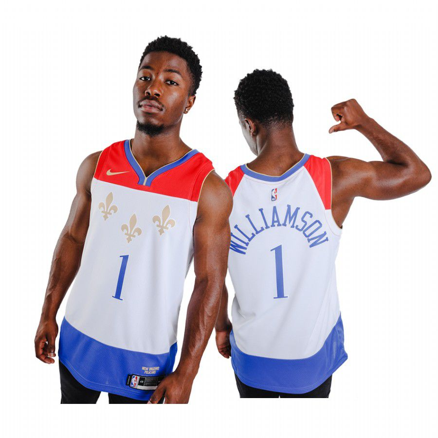 Wholesale Men New Orleans Pelicans 1 zion williamson white city edition fleur de lis 2020 nba jersey