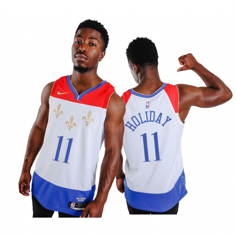 Wholesale Men New Orleans Pelicans 11 jrue holiday white city edition fleur de lis 2020 nba jersey