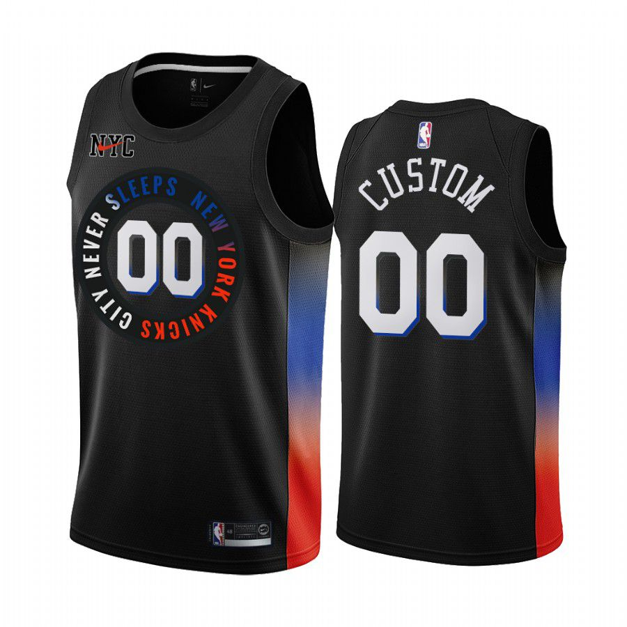 Cheap Men New York Knicks 00 custom black city edition 2020 nba jersey