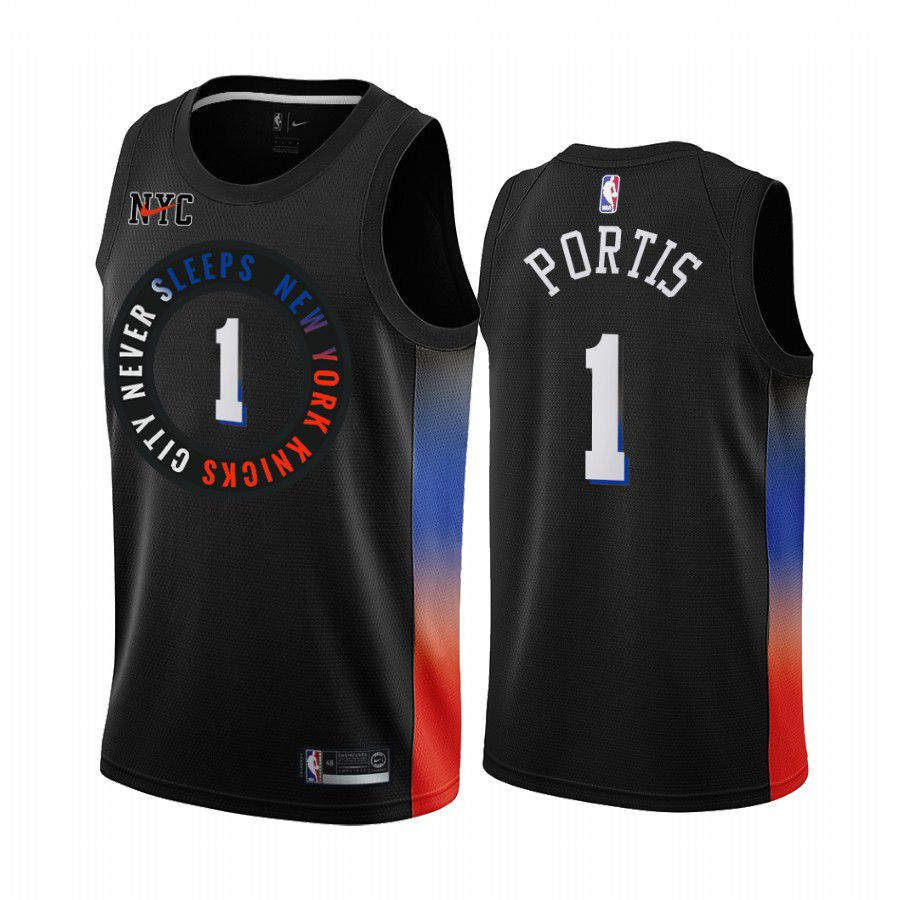 Cheap Men New York Knicks 1 bobby portis black city edition 2020 nba jersey