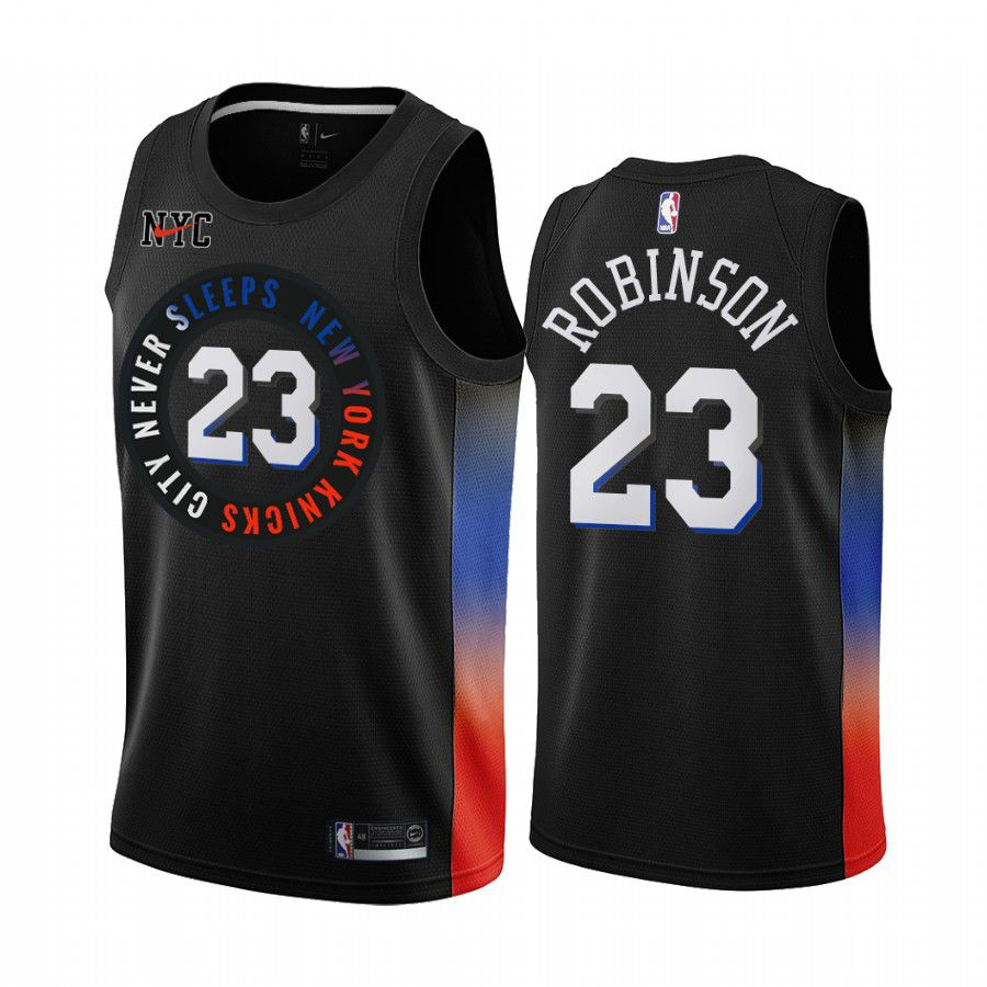 Cheap Men New York Knicks 23 mitchell robinson black city edition 2020 nba jersey