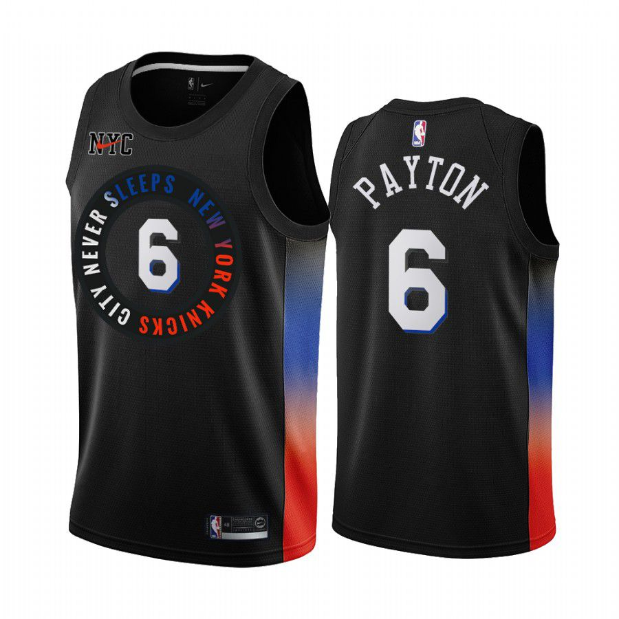 Cheap Men New York Knicks 6 elfrid payton black city edition 2020 nba jersey