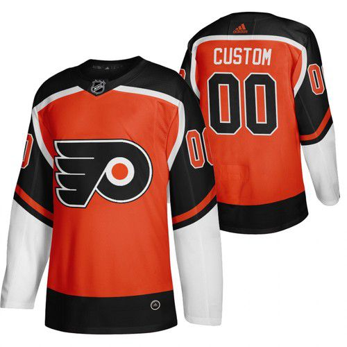 Cheap Men Philadelphia Flyers 00 Custom Orange NHL 2021 Reverse Retro jersey