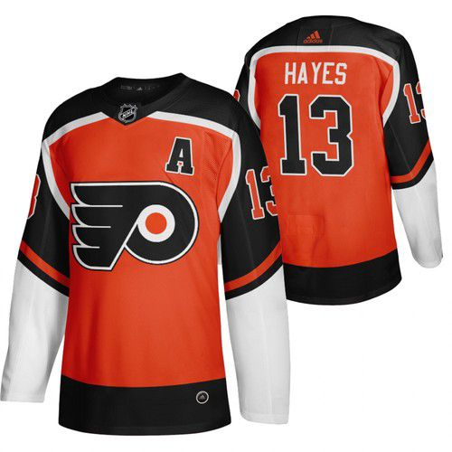 Cheap Men Philadelphia Flyers 13 Hayes Orange NHL 2021 Reverse Retro jersey