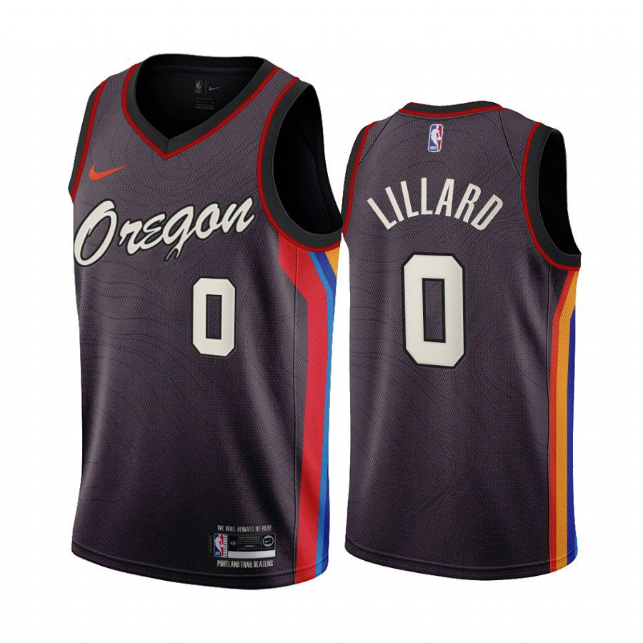 Wholesale Men Portland Trail Blazers 0 damian lillard chocolate city edition oregon 2020 nba jersey