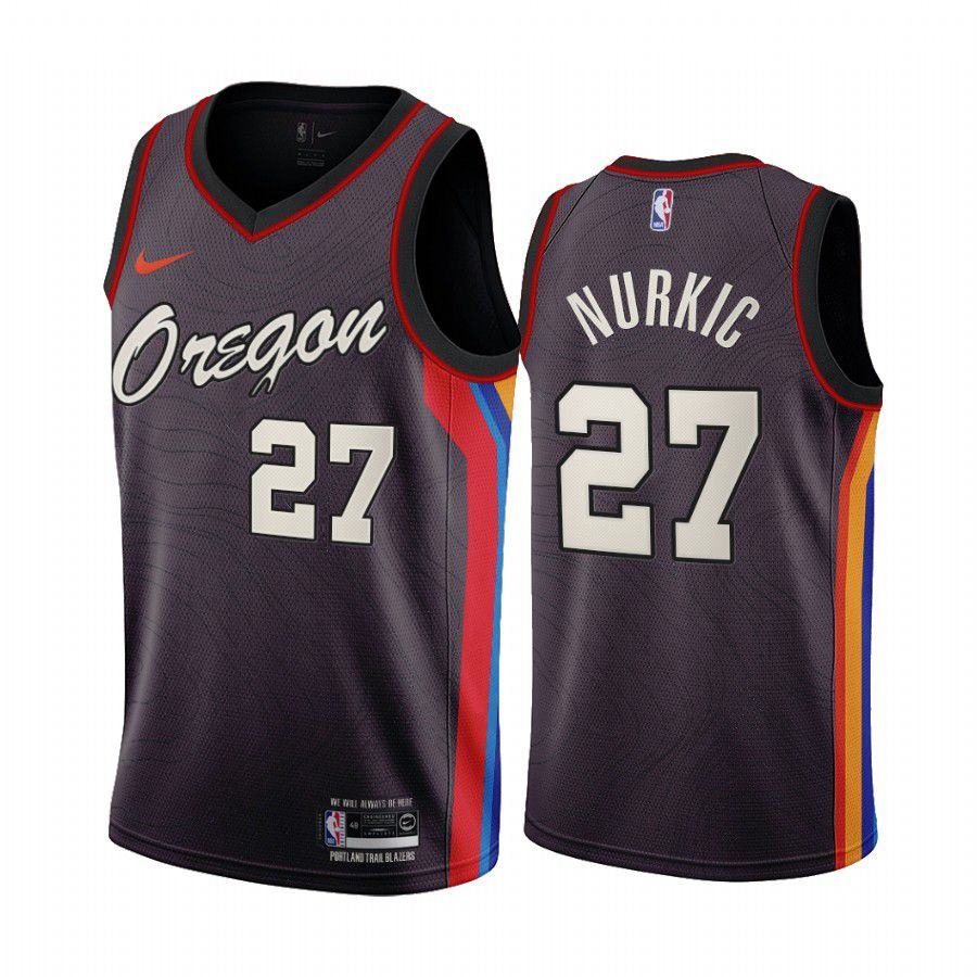 Cheap Men Portland Trail Blazers 27 jusuf nurkic chocolate city edition oregon 2020 nba jersey