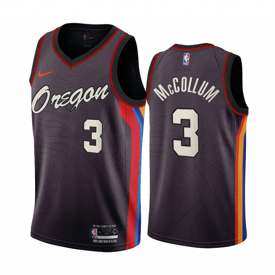 Wholesale Men Portland Trail Blazers 3 mccollum chocolate city edition oregon 2020 nba jersey