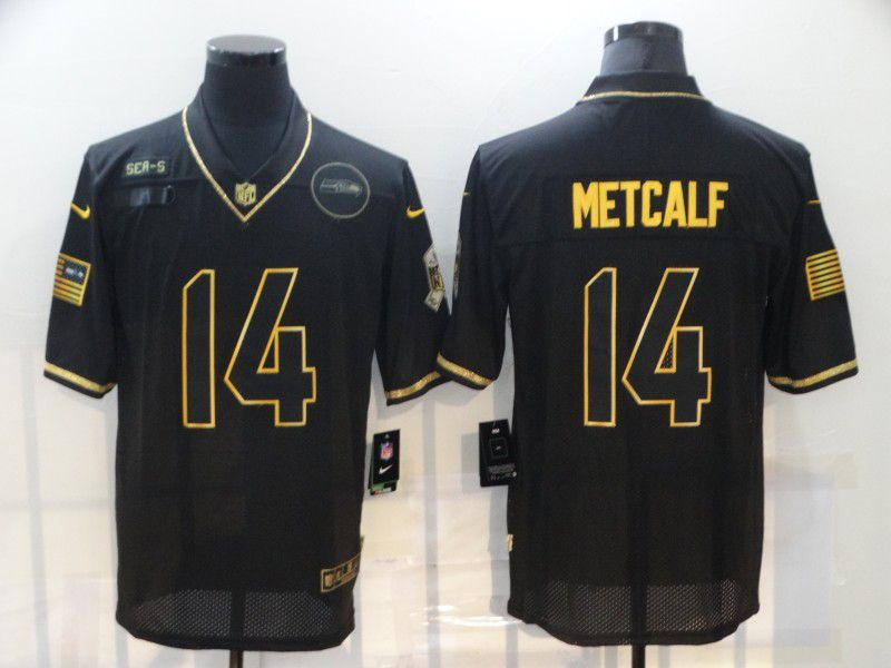 Wholesale Men Seattle Seahawks 14 Metcalf Black Retro Gold Lettering 2020 Nike NFL Jersey