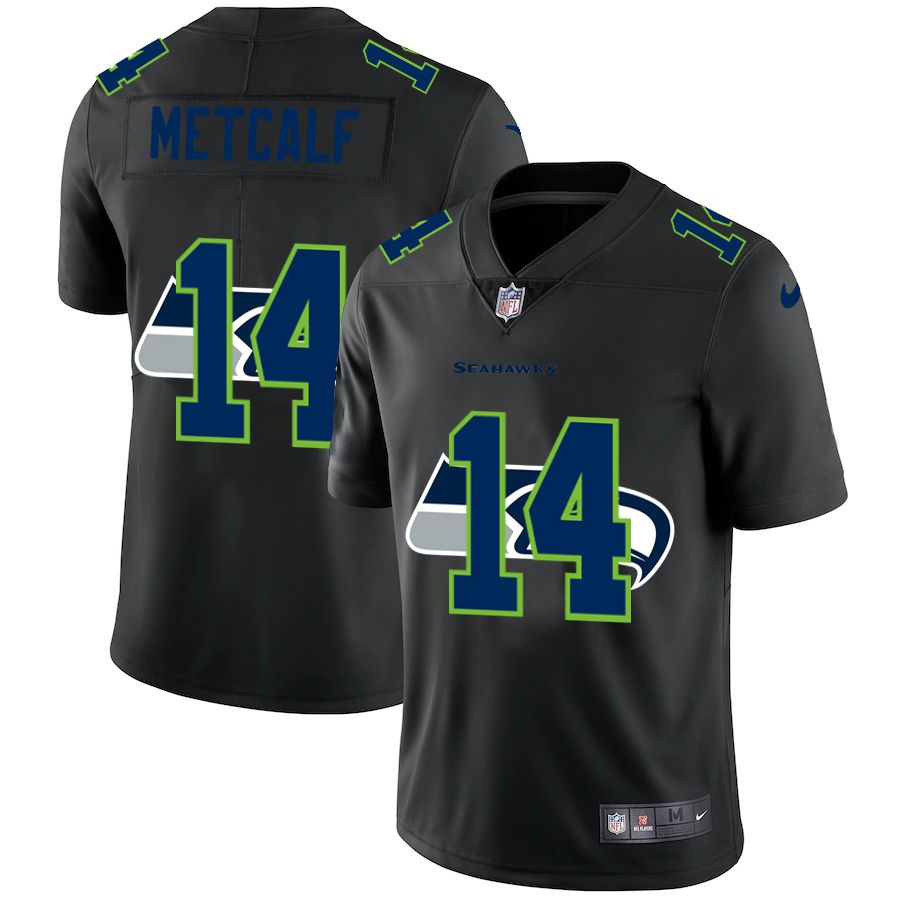 Wholesale Men Seattle Seahawks 14 Metcalf Black shadow Nike NFL Jersey